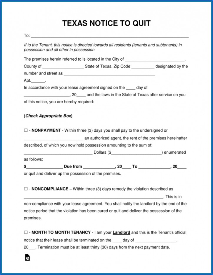 3 Day Notice Vacate Texas Form