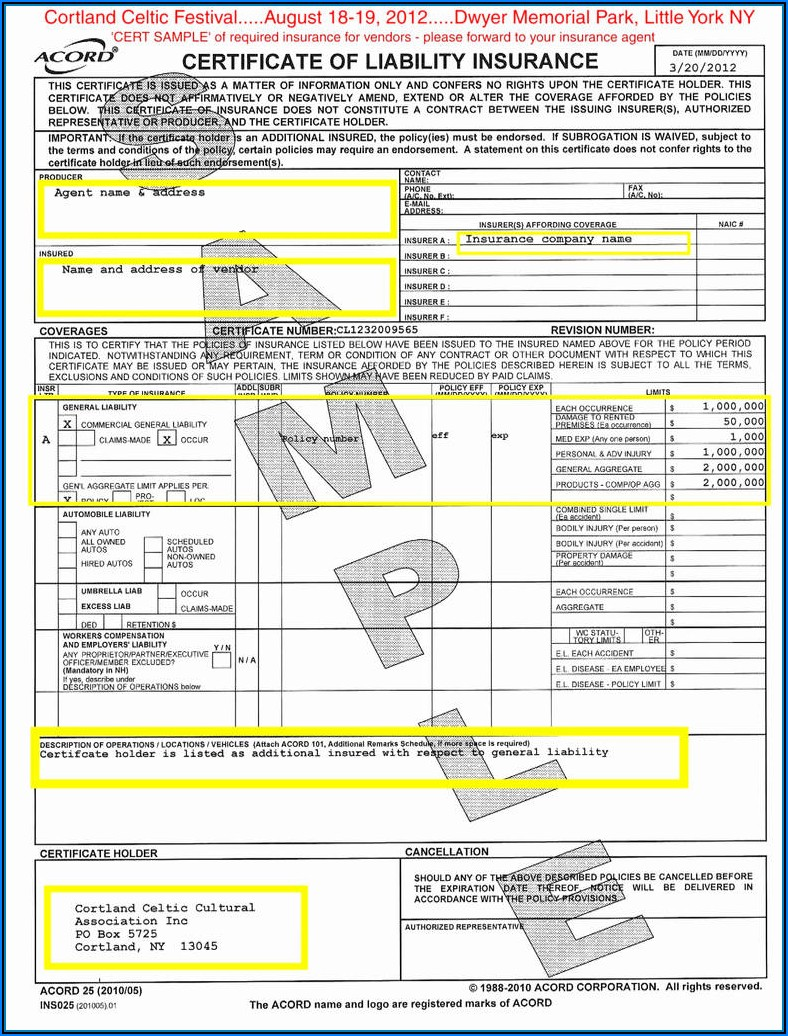 Acord General Liability Claim Form Fillable