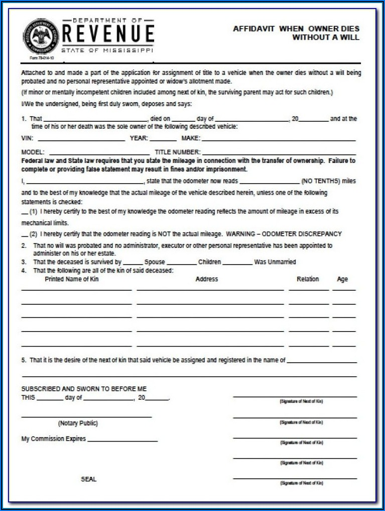 Affidavit Of Heirship Texas Form