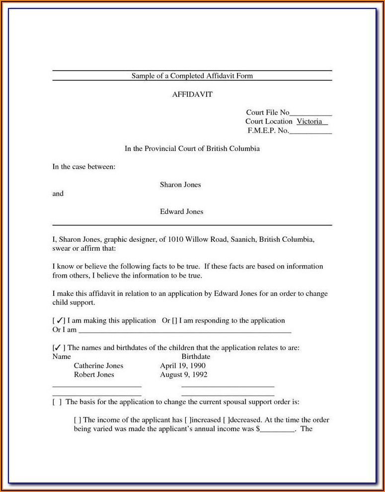 Affidavit Template For Family Court