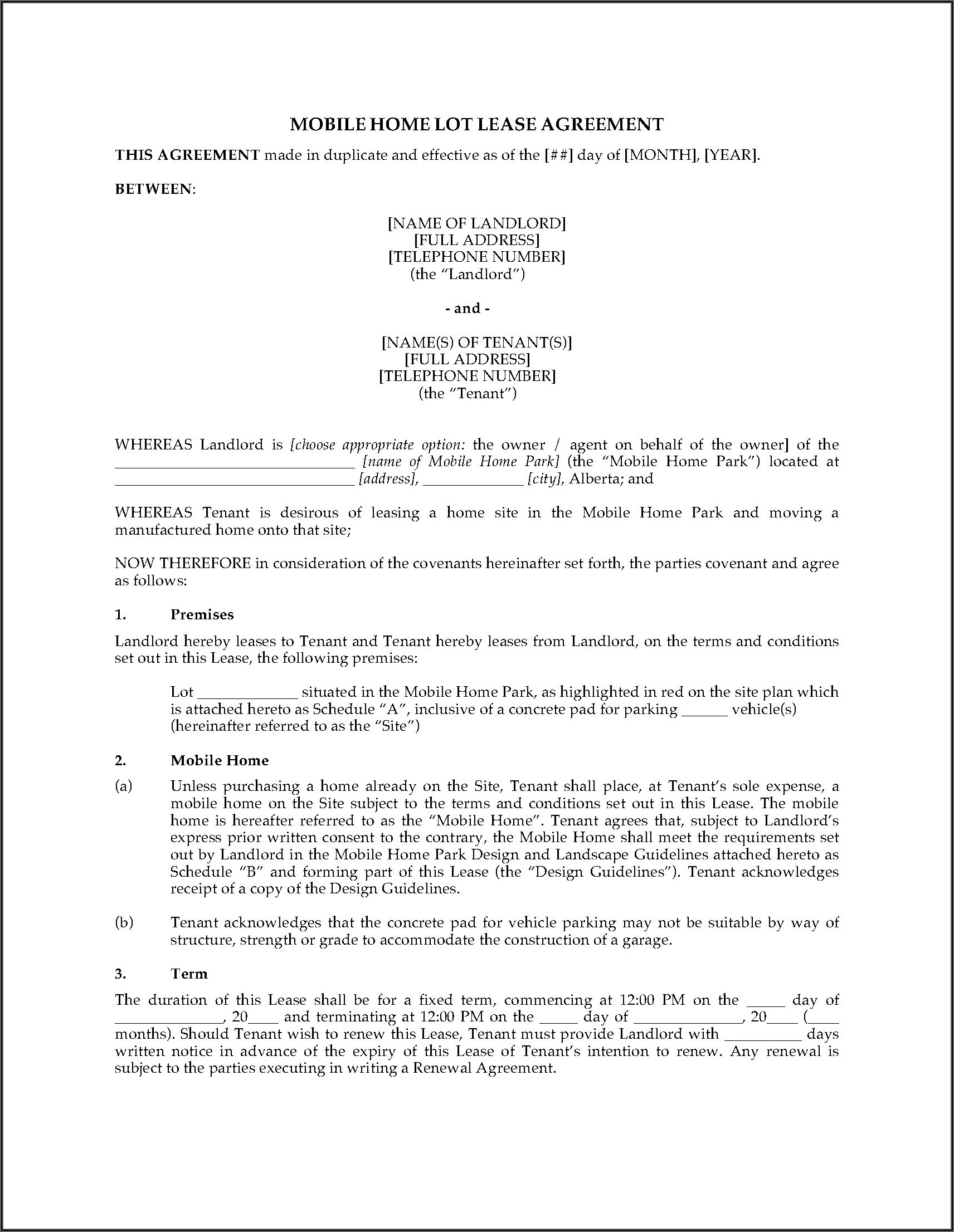 Alberta Government Rental Agreement Forms