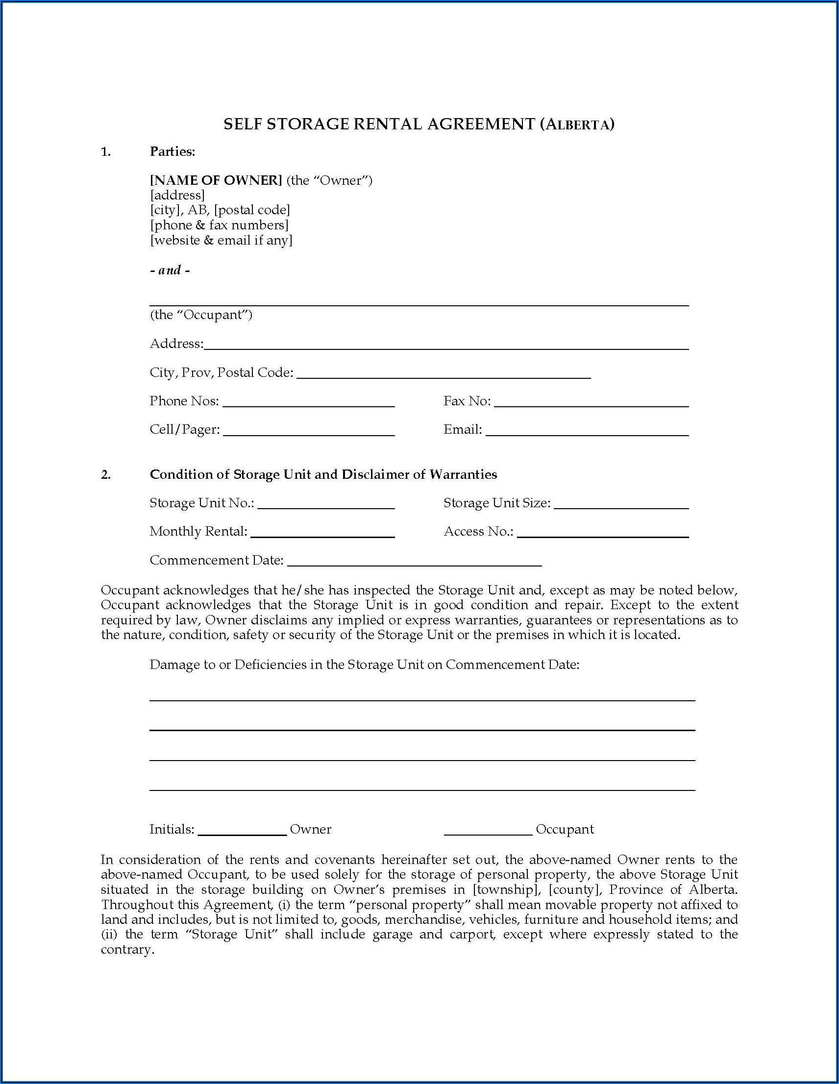 Alberta Rental Agreement Contract