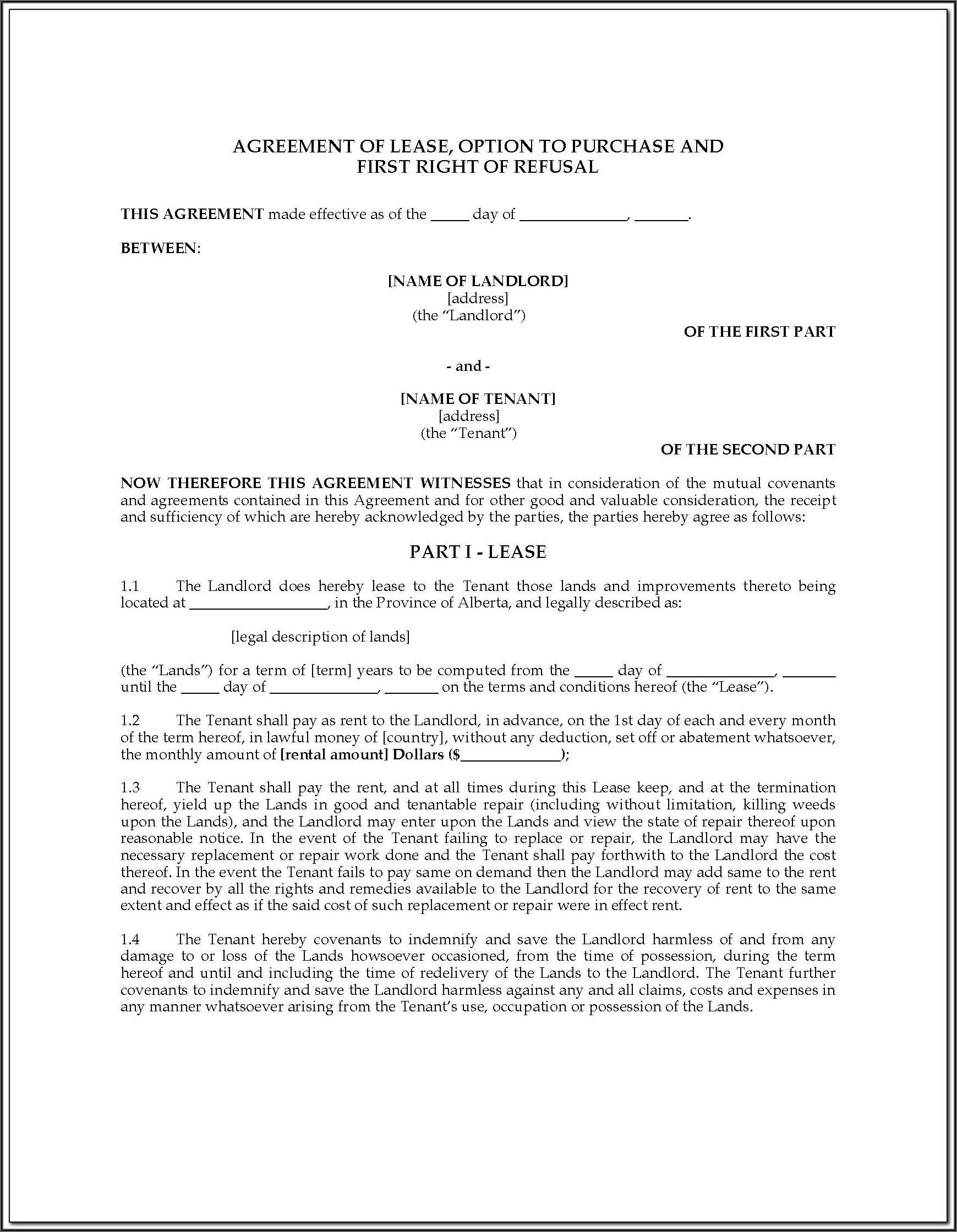 Alberta Rental Agreement Forms Pdf