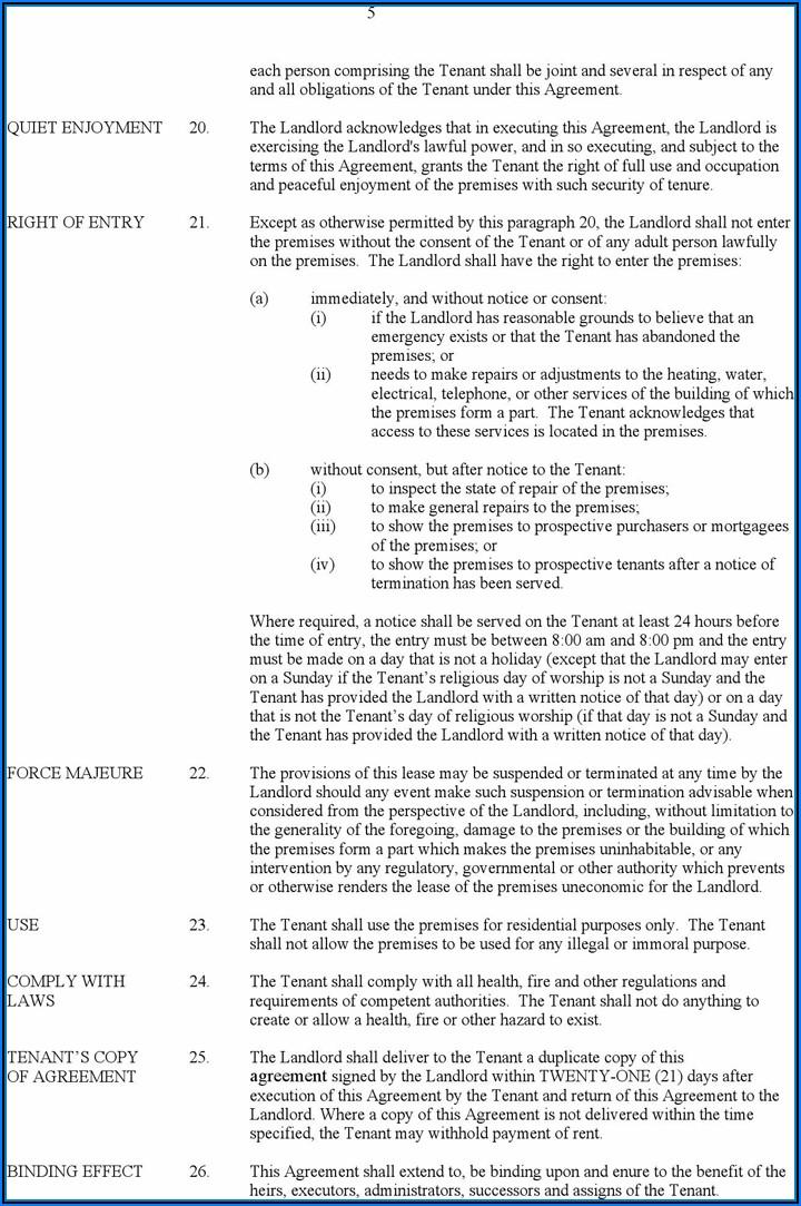 Alberta Residential Tenancy Agreement Form