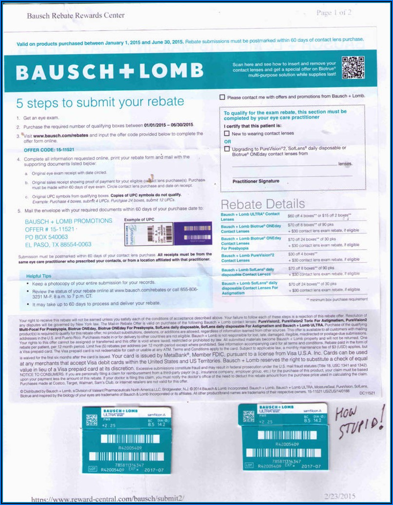 Bausch And Lomb Ultra Rebate Form