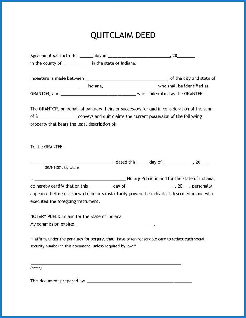 Blank Quit Claim Deed Form Texas