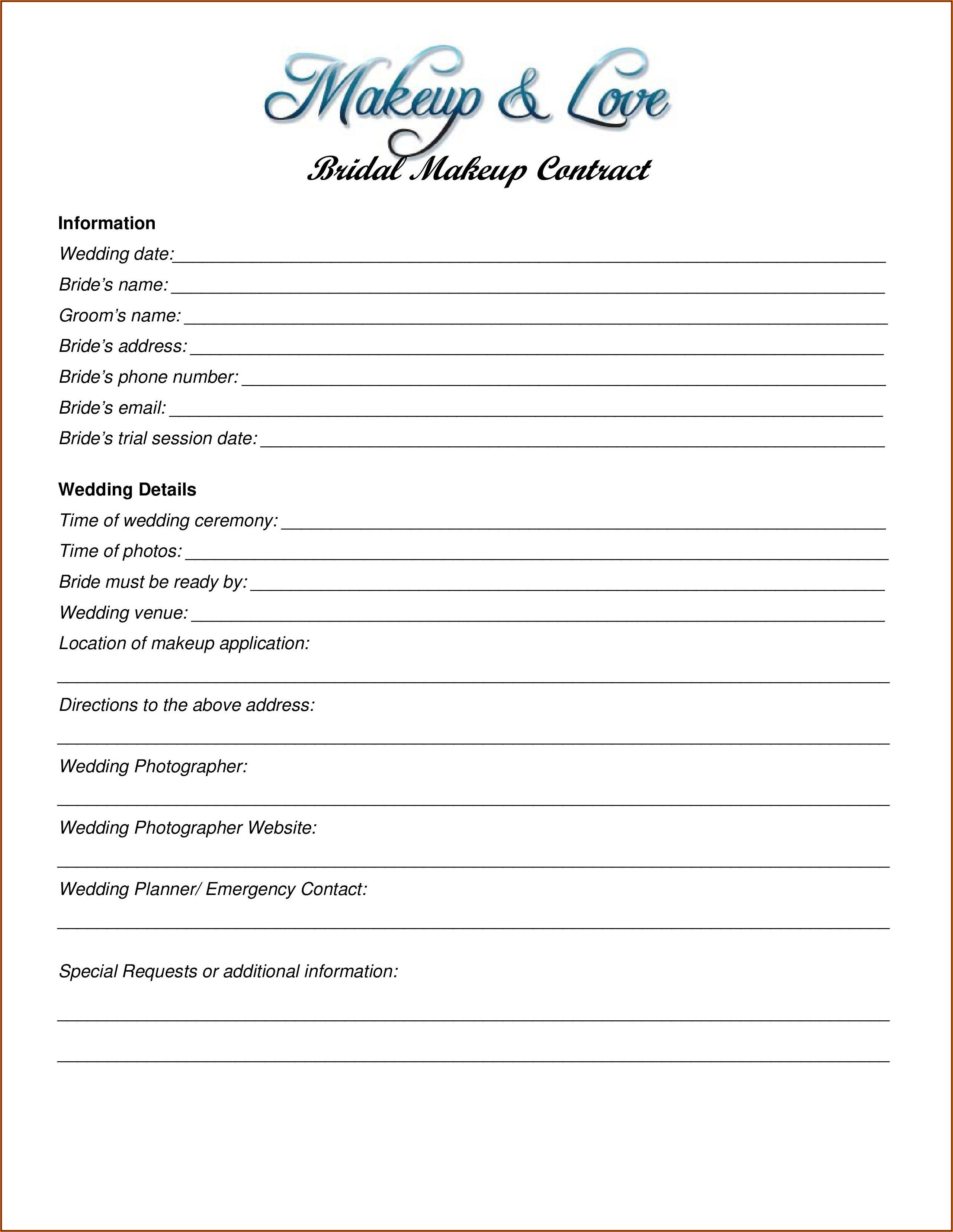 Bridal Makeup Contract Template