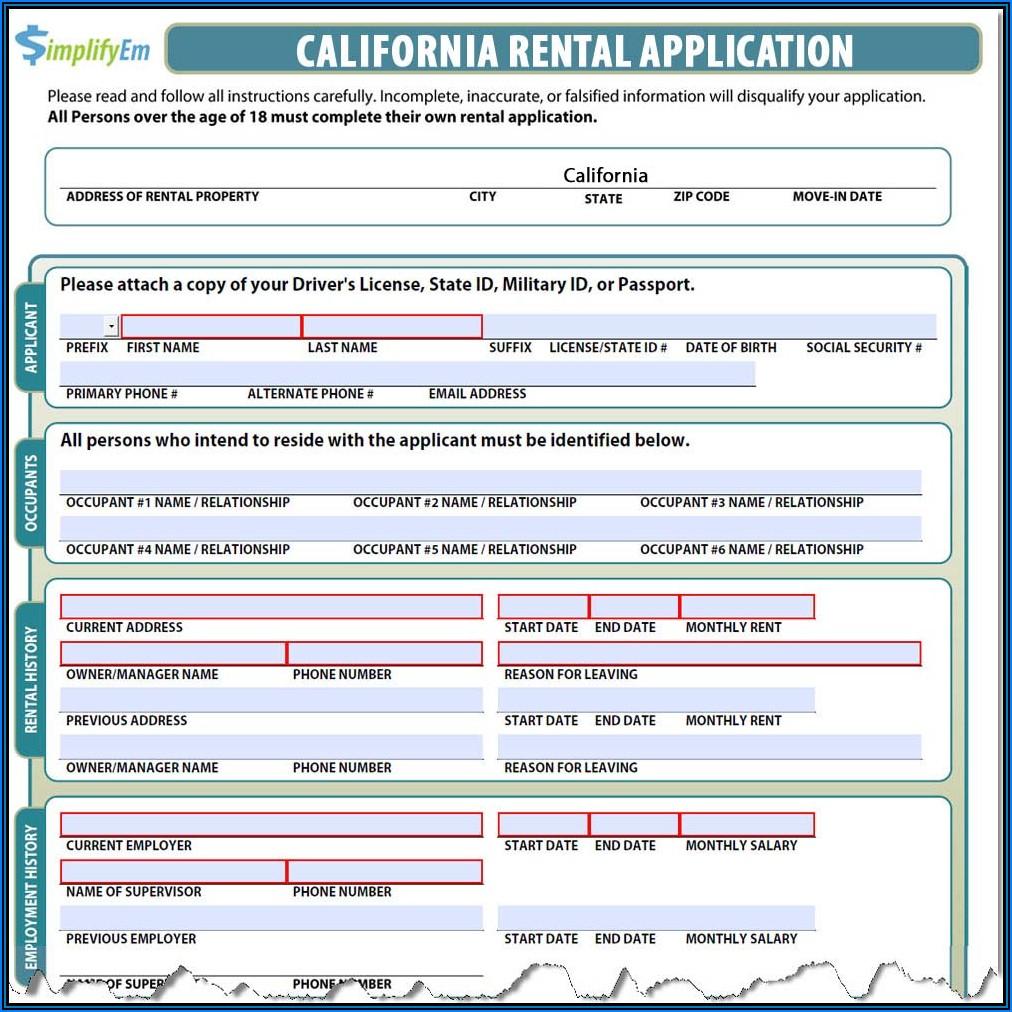 California Housing Rental Application Form