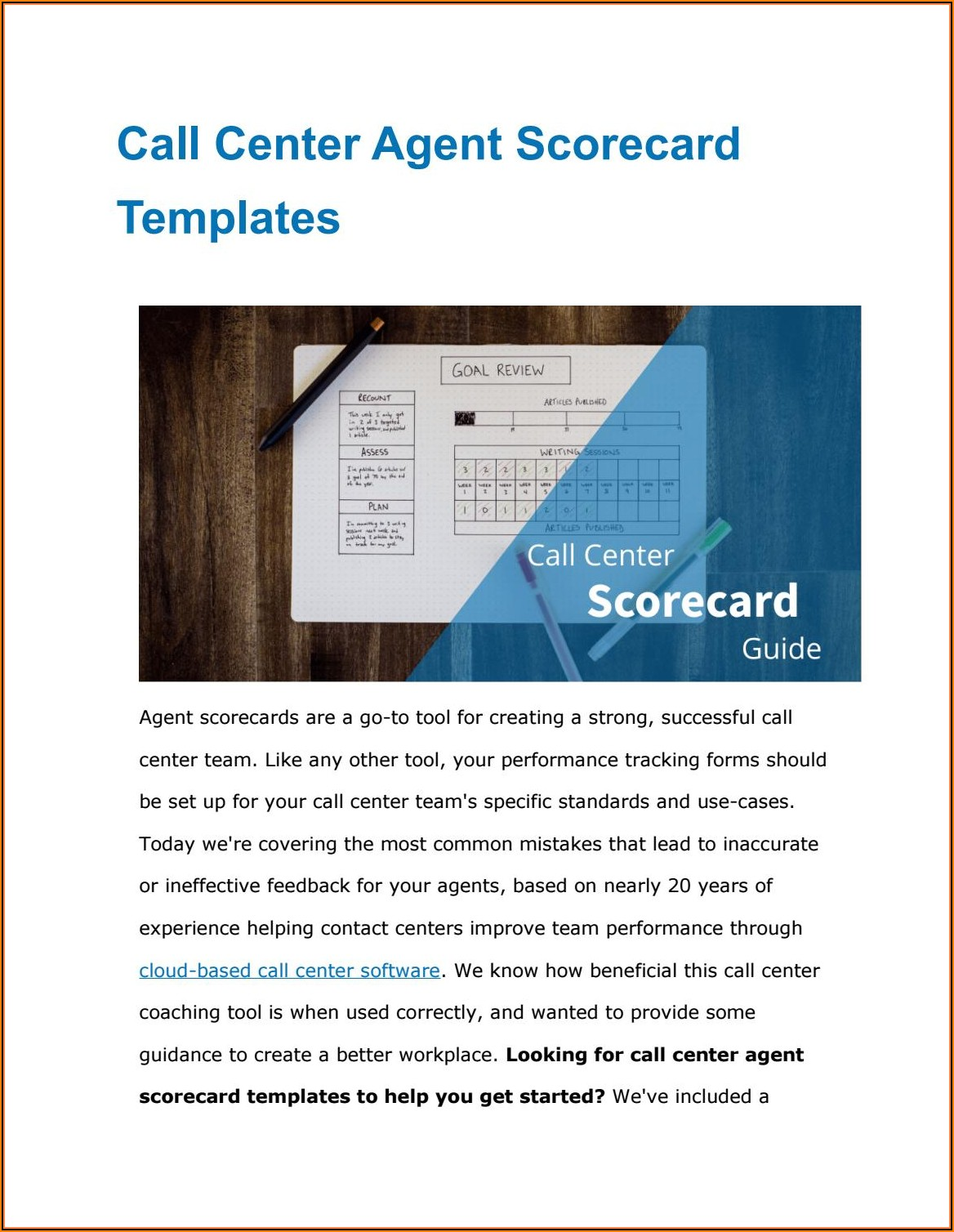 Call Center Agent Scorecard Template