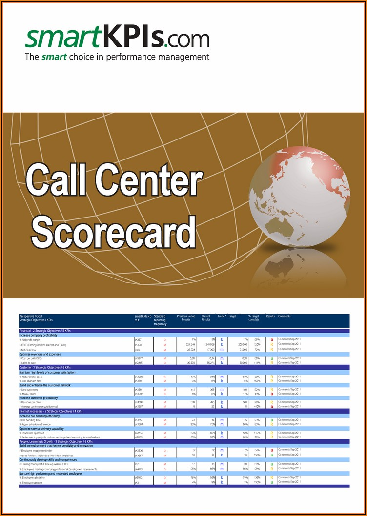 Call Center Scorecard Template