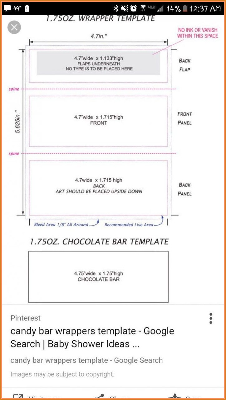 Chocolate Candy Wrapper Template