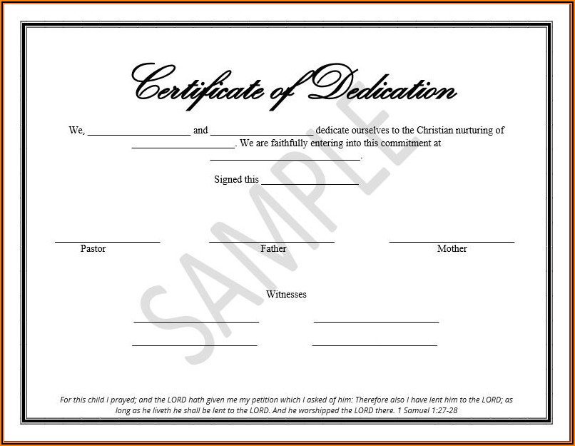 Christian Birth Certificate Template