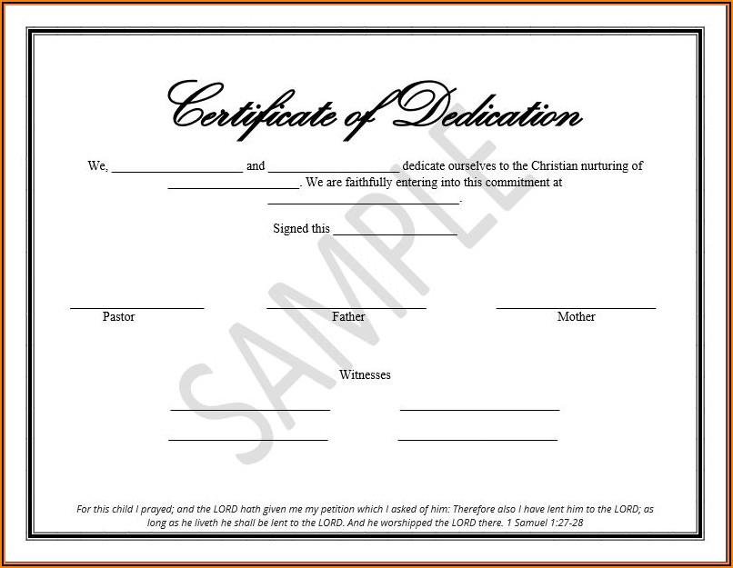 Christian Birth Certificate Template