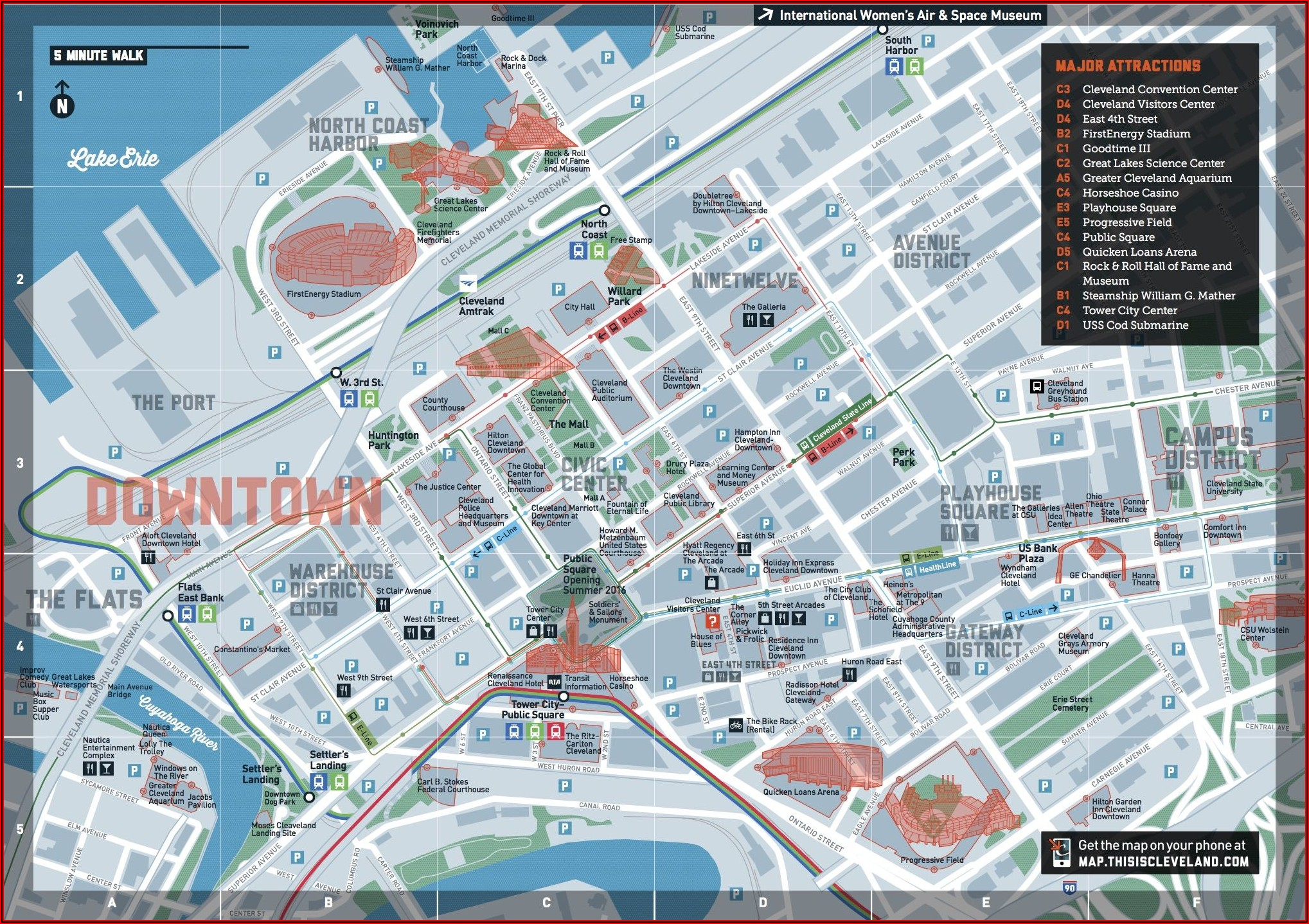 Cleveland Downtown Hotels Map
