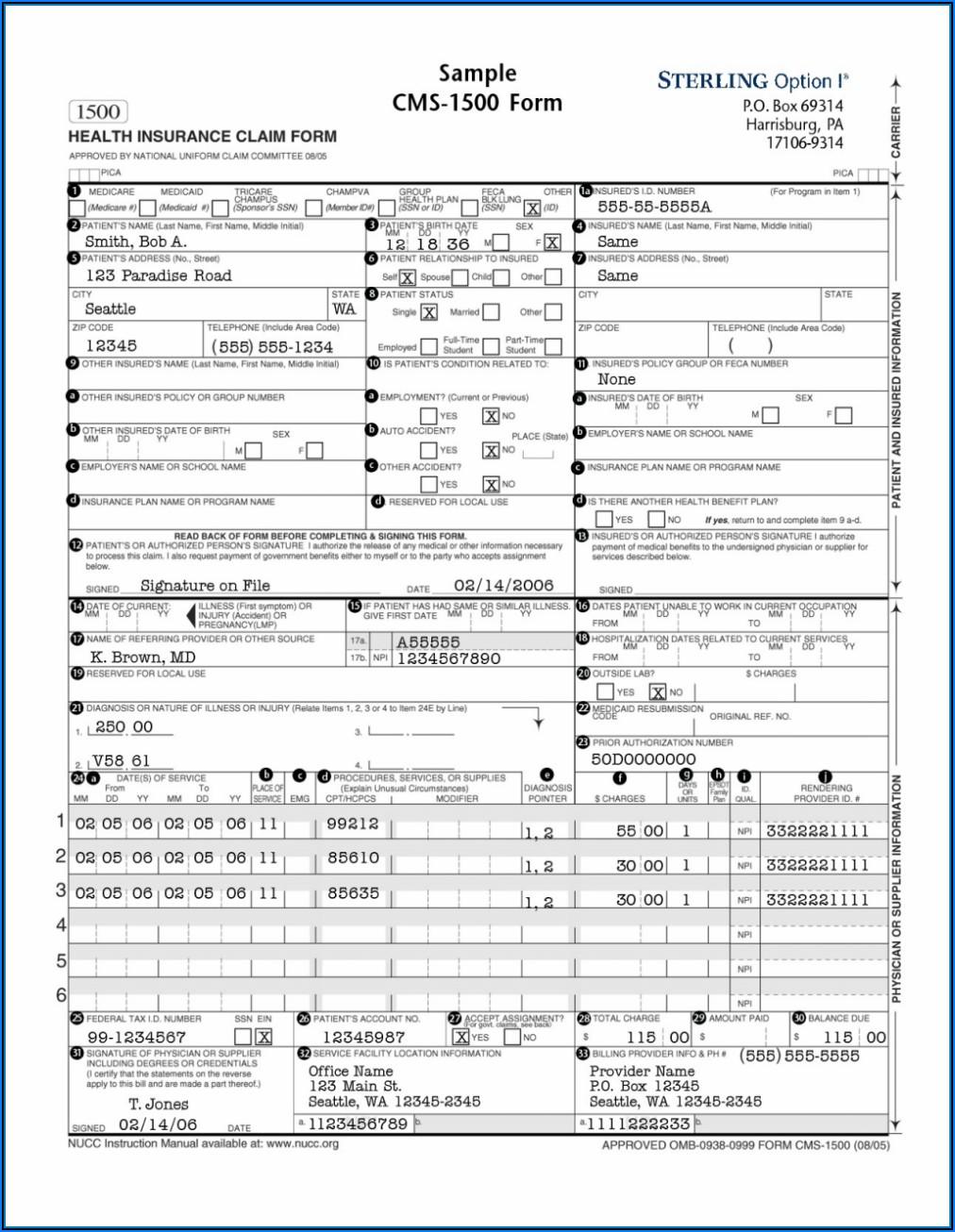 Cms 1500 Printable Form