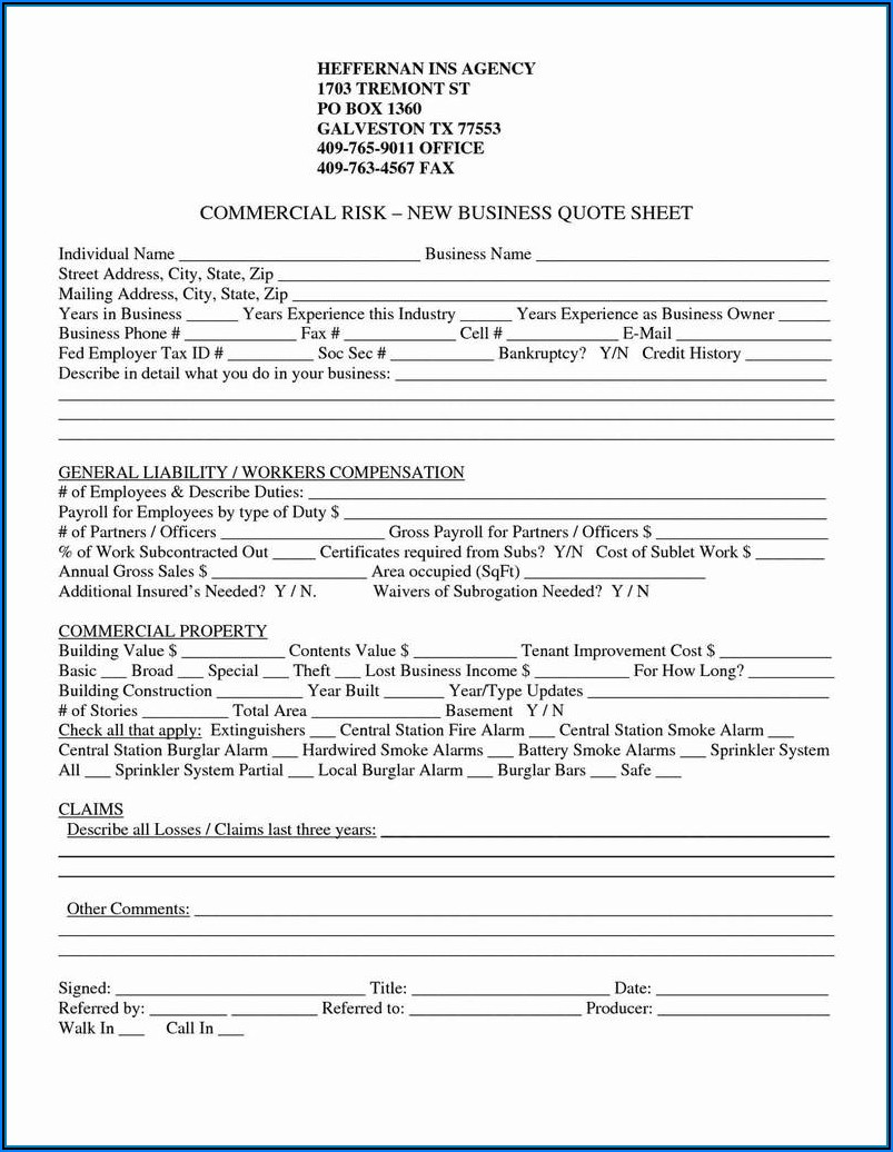 Commercial General Liability Acord Form