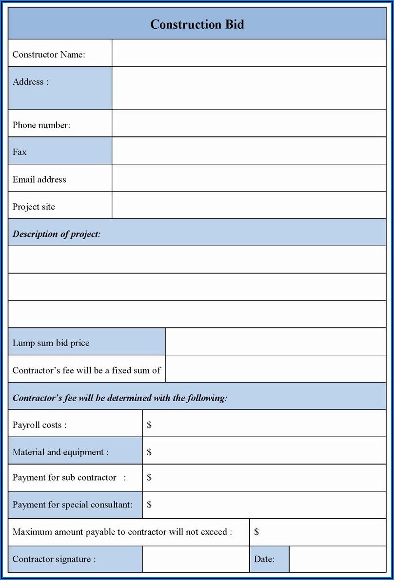 Construction Bid Form Example
