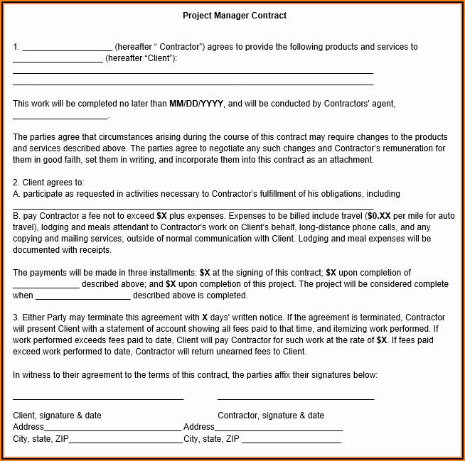 Construction Project Manager Contract Template