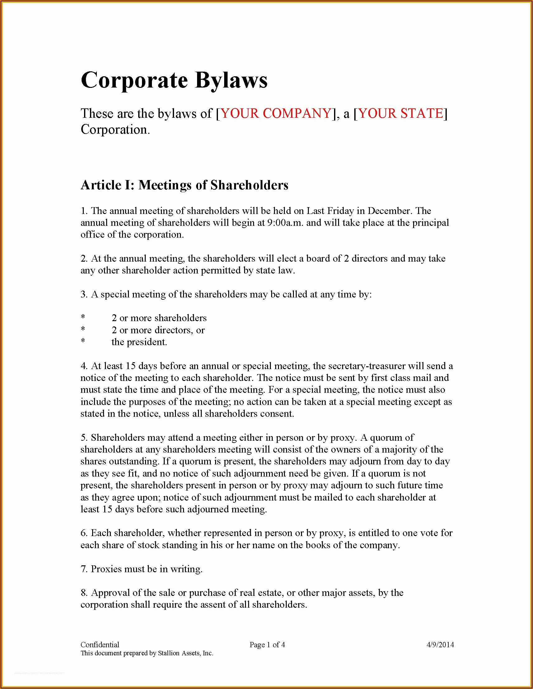 Corp Bylaws Template