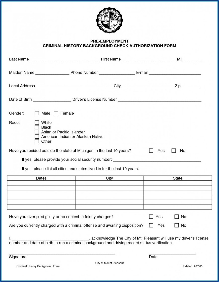 Criminal Background Check Authorization Form California