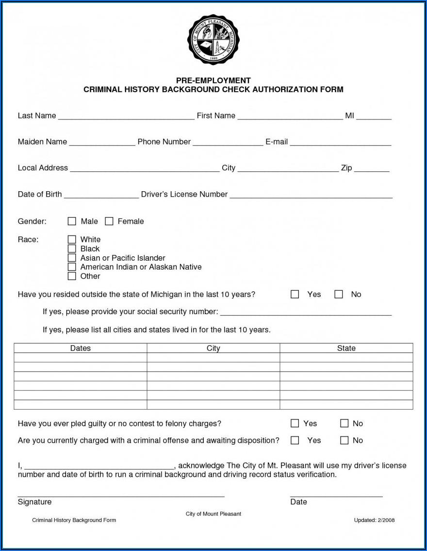 Criminal Background Check Authorization Form California