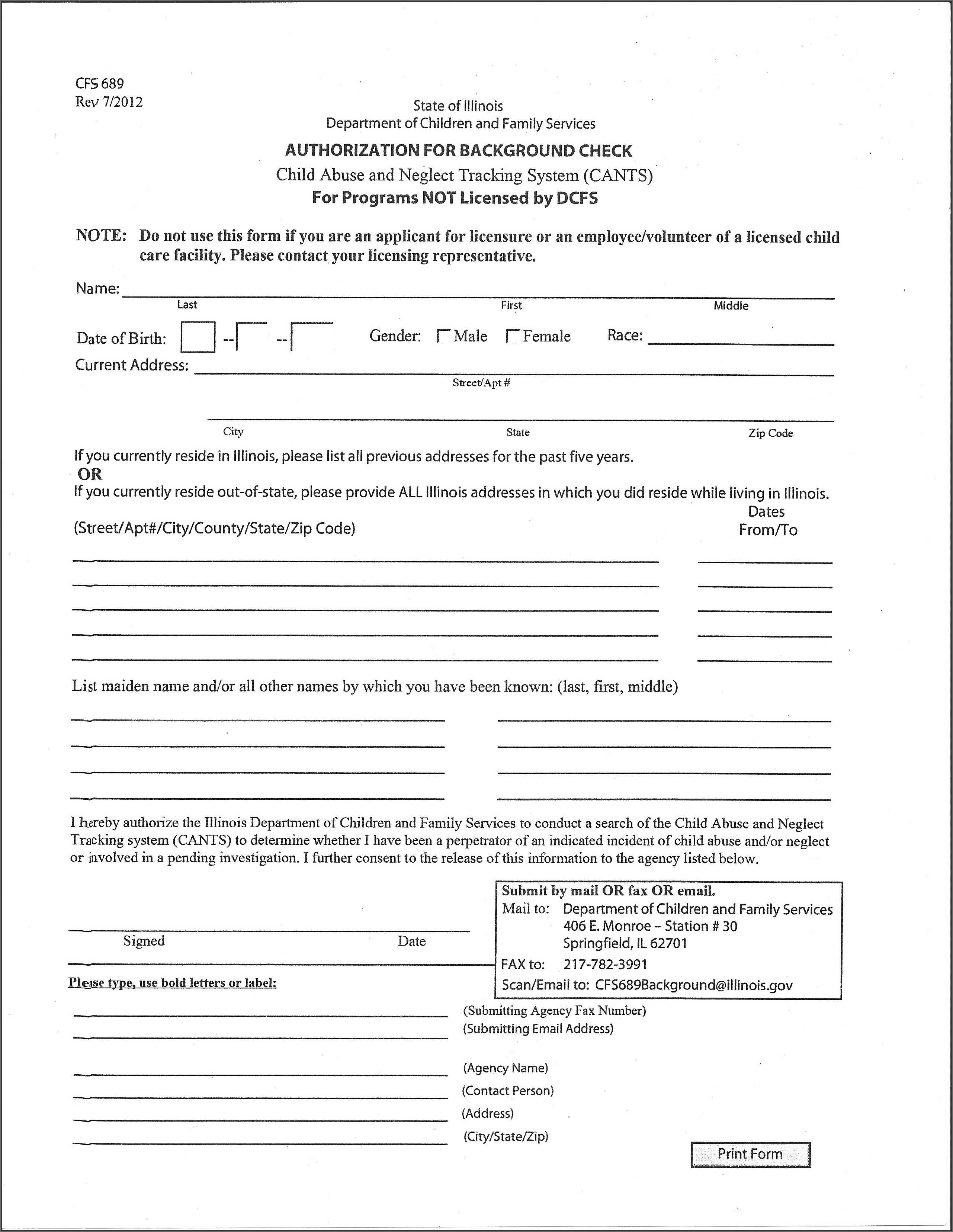 Criminal Background Check Authorization Form Illinois