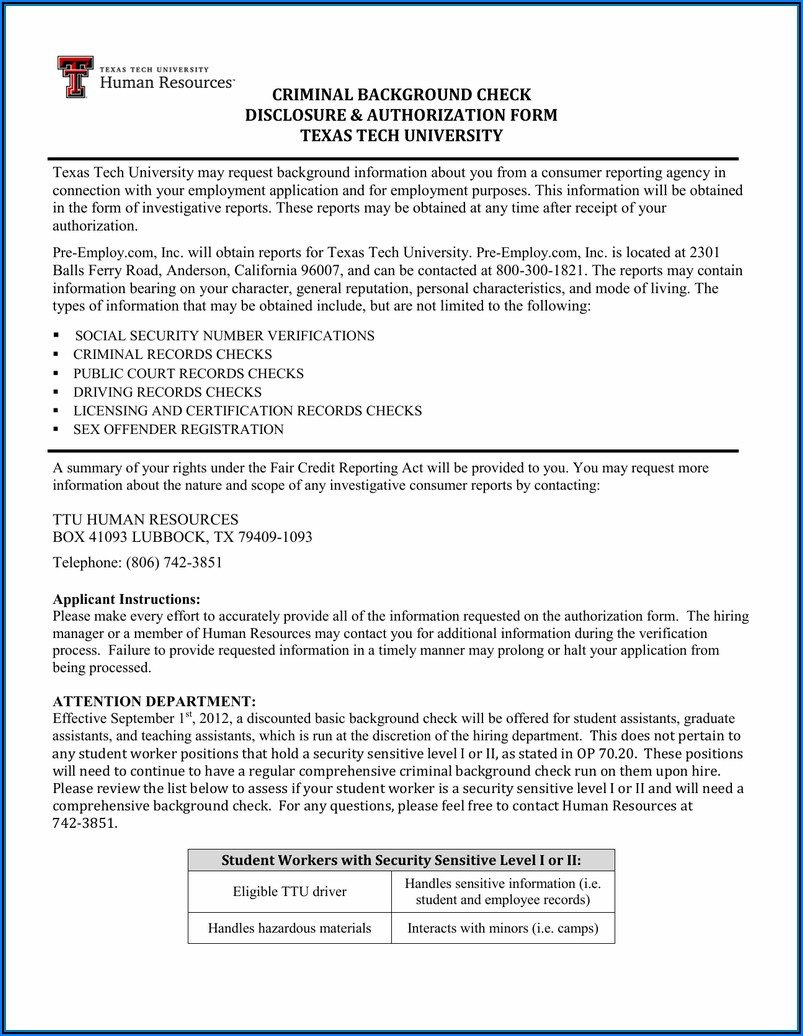 Criminal Background Check Authorization Form Texas