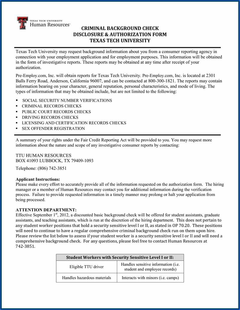 Criminal Background Check Authorization Form