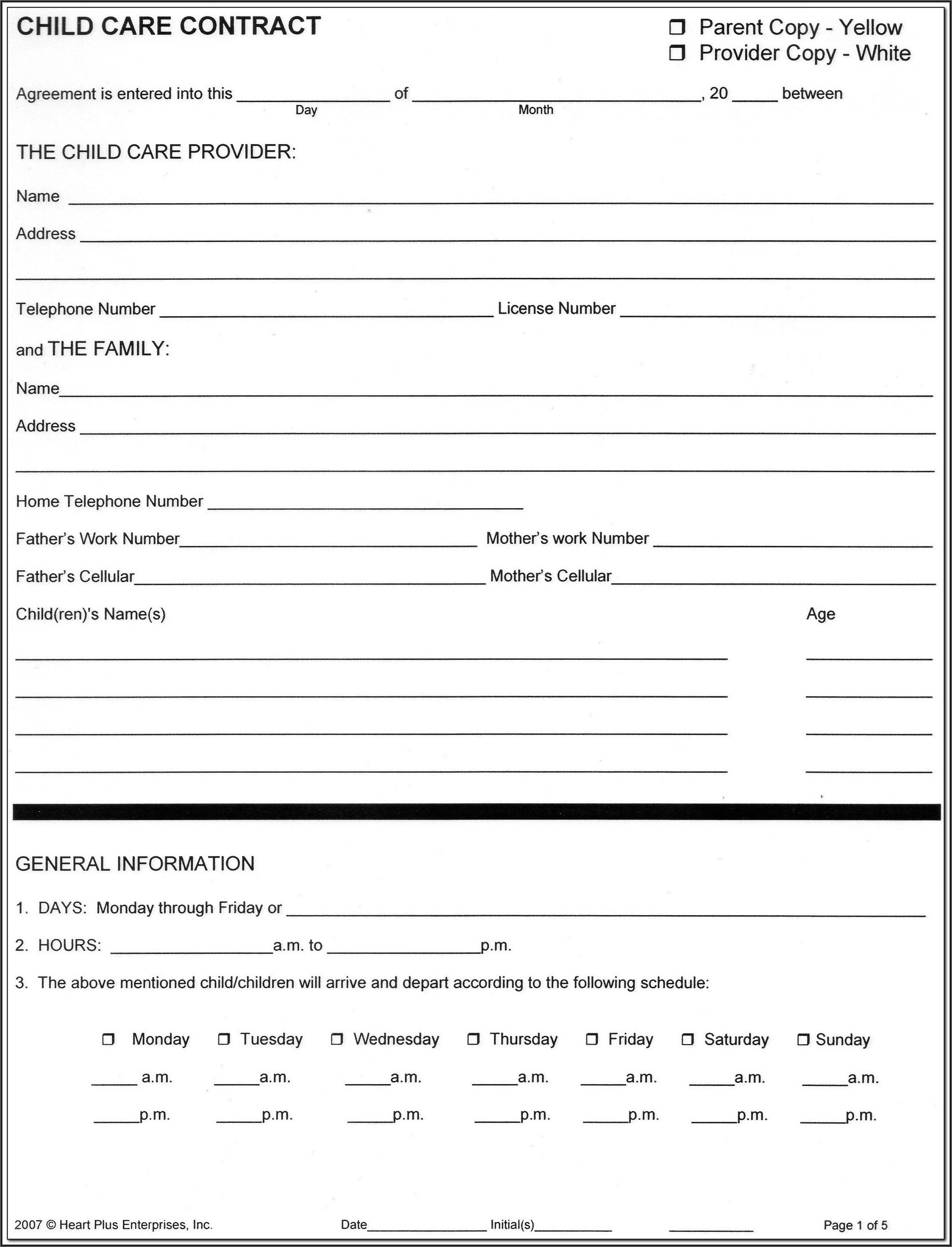 Daycare Agreement Forms