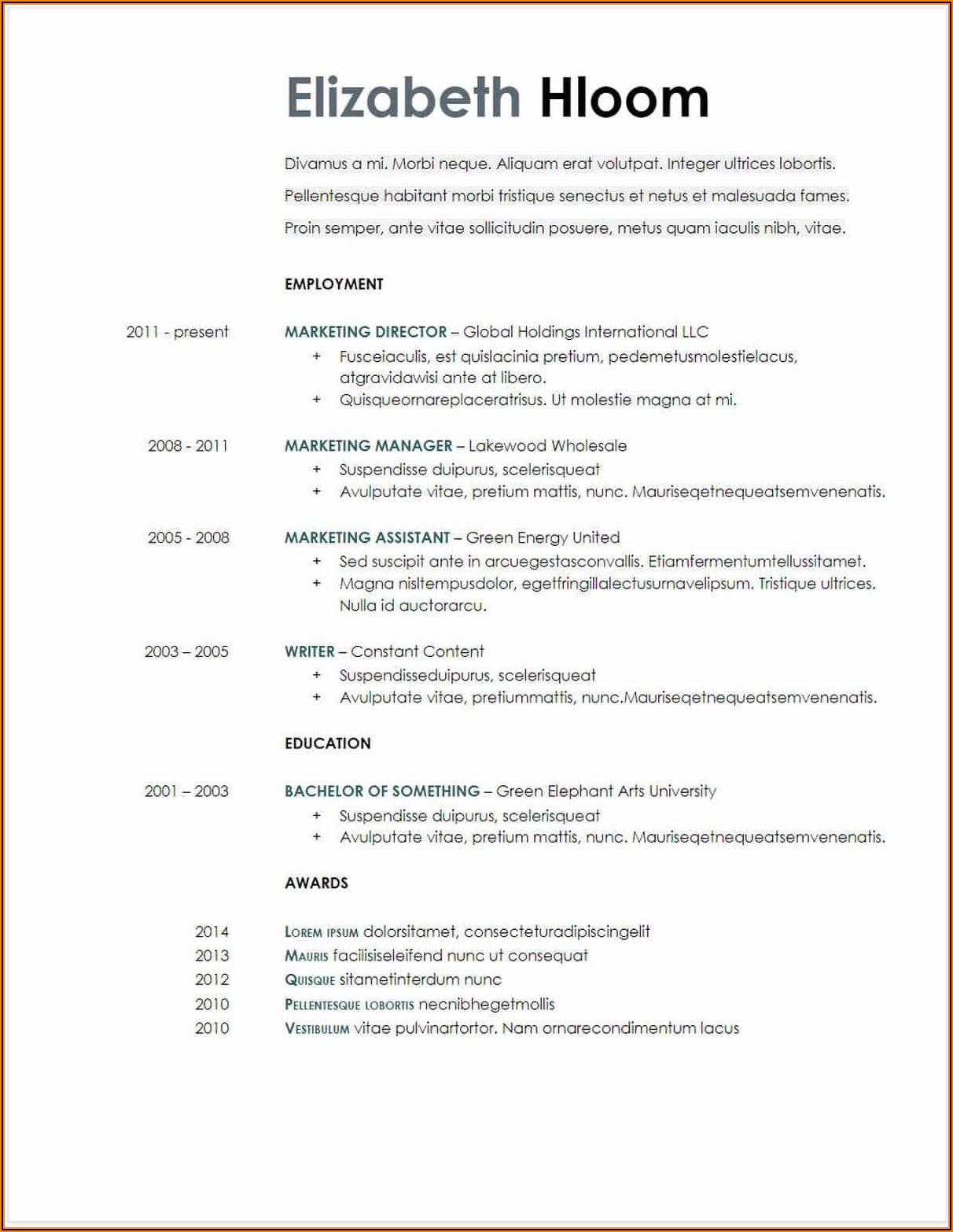Downloadable Resume Templates Google Docs