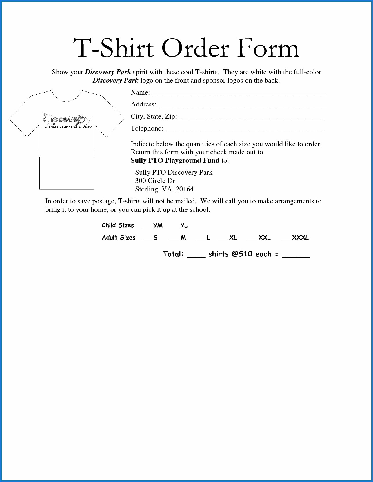 Editable T Shirt Order Form Template Word