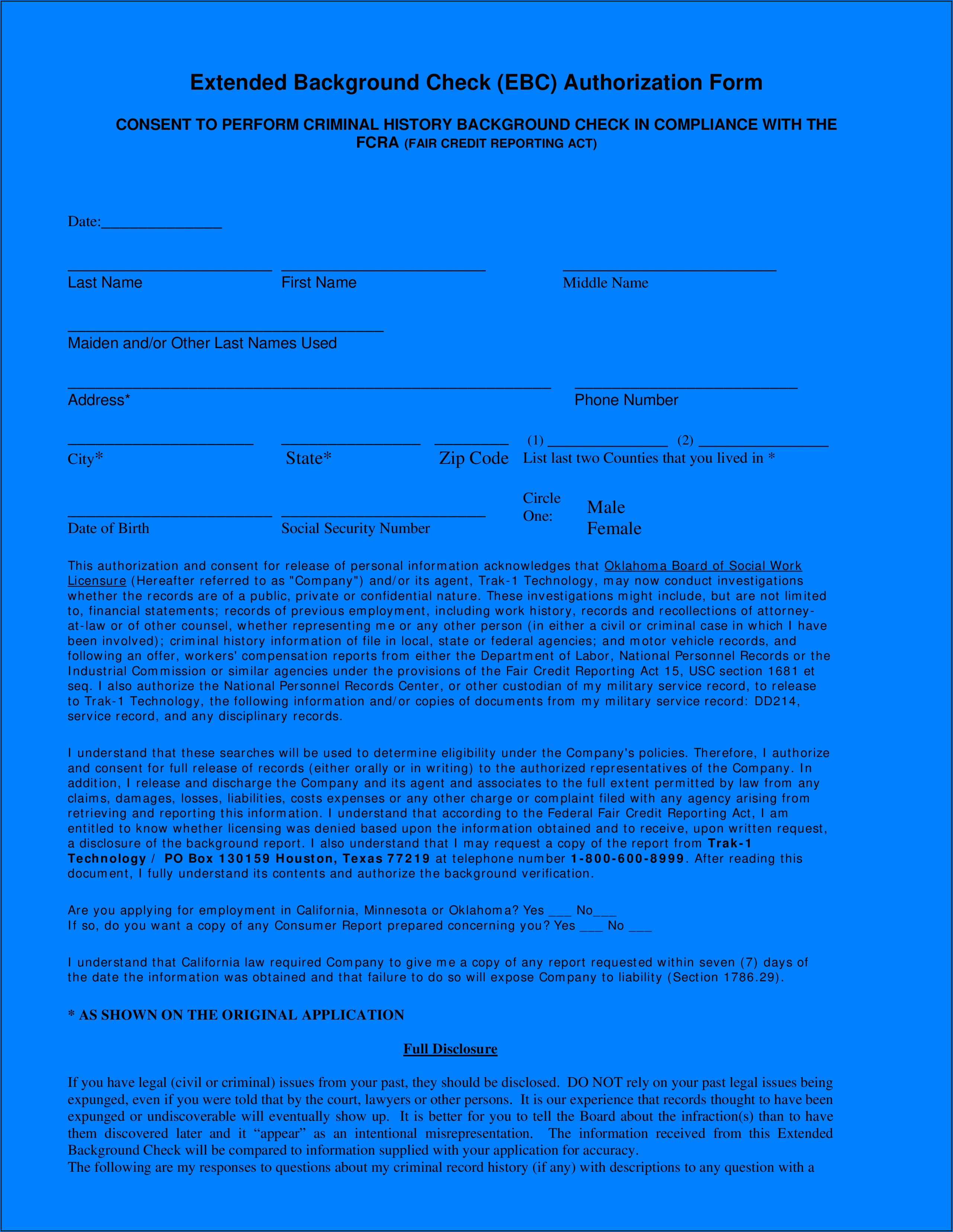 Employment Criminal Background Check Authorization Form