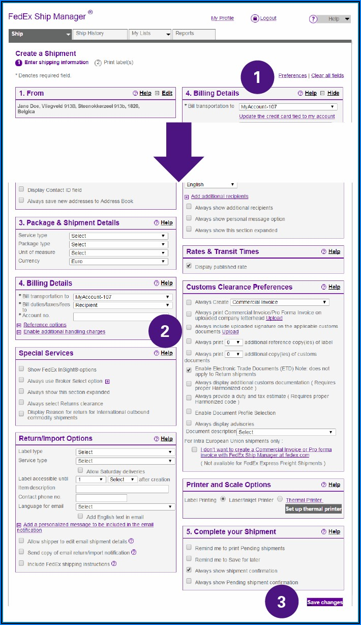 Fedex Express International Air Waybill Form