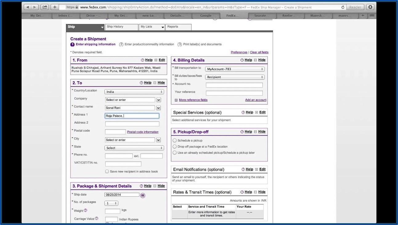 Fedex International Air Waybill Form