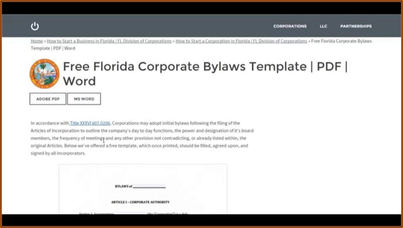 Florida Corporation Bylaws Template