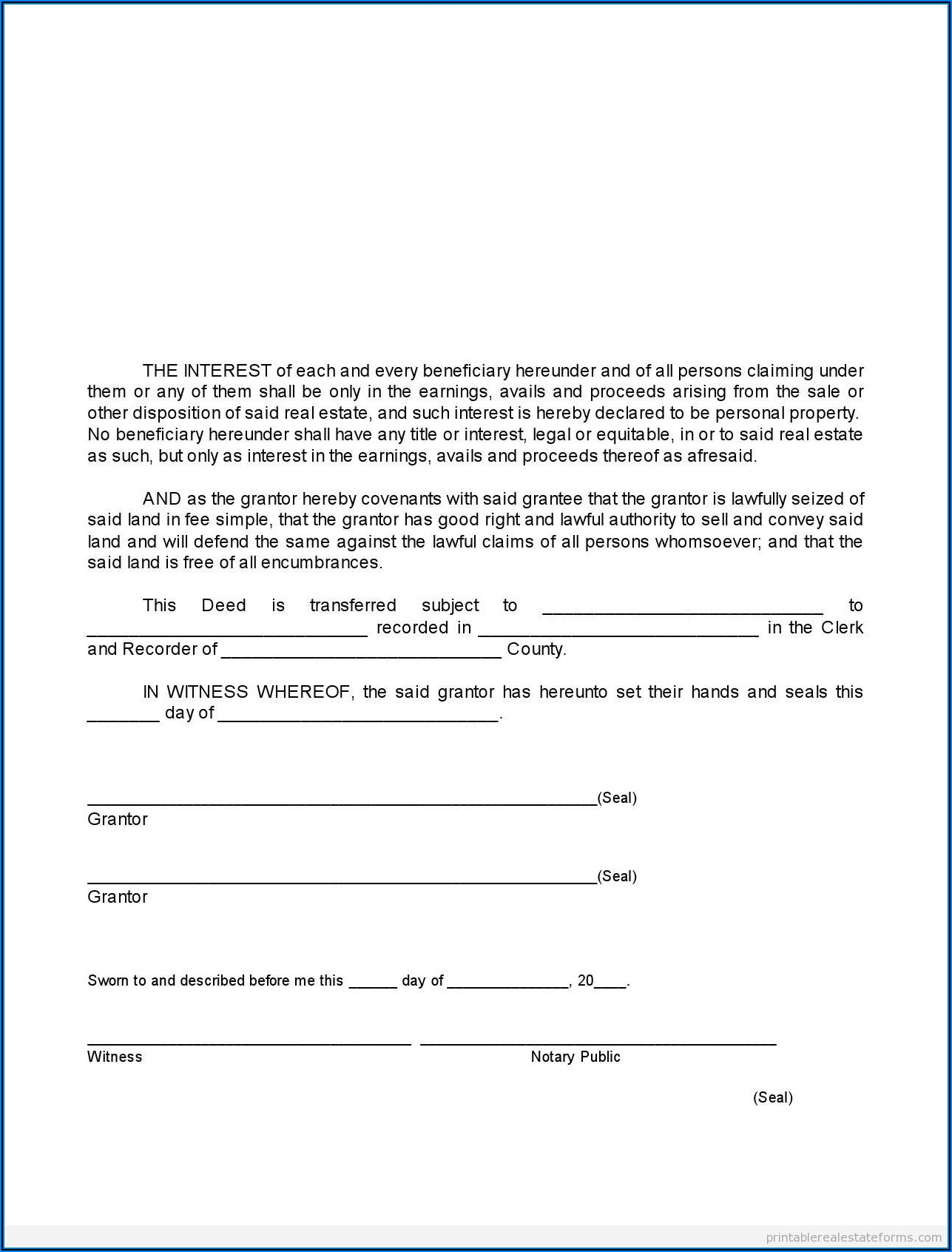 Florida Warranty Deed Form Free
