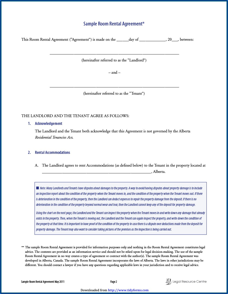 Free Alberta Tenancy Agreement Form