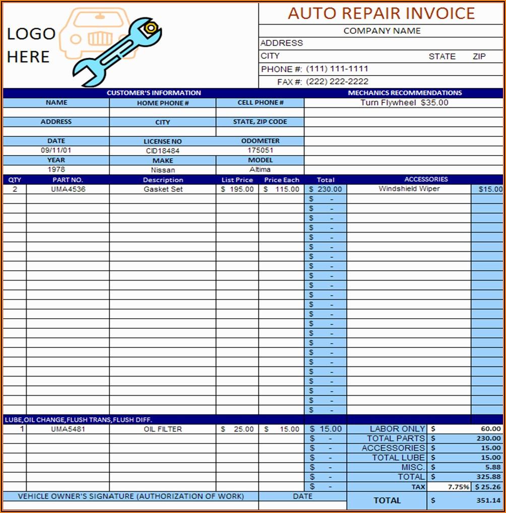 Free Auto Repair Invoice Template Excel