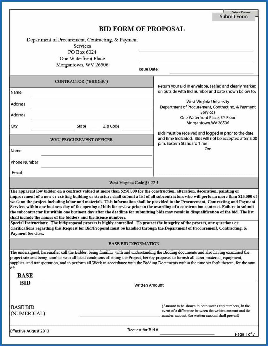 Free Construction Bid Forms