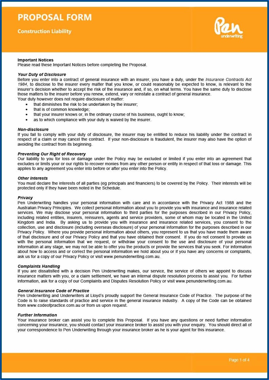 Free Construction Proposal Forms Pdf