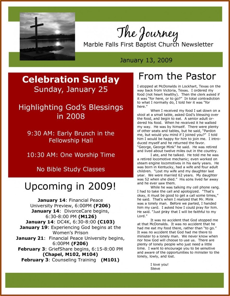Free Downloadable Church Newsletter Templates