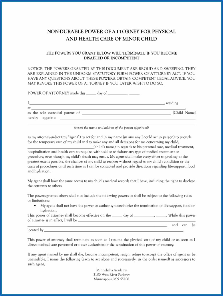 Free Durable Power Of Attorney Form Mn