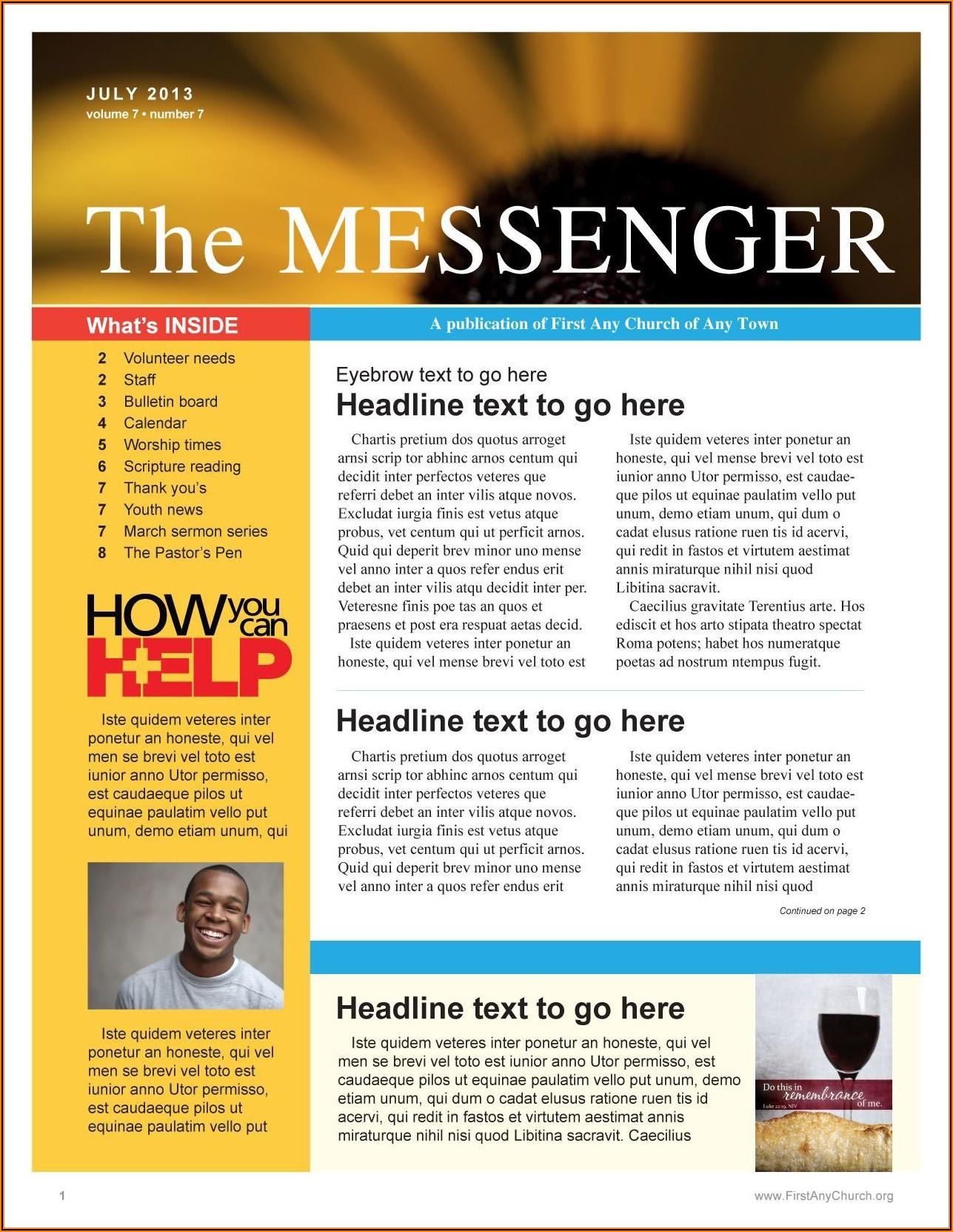 Free Editable Church Newsletter Templates