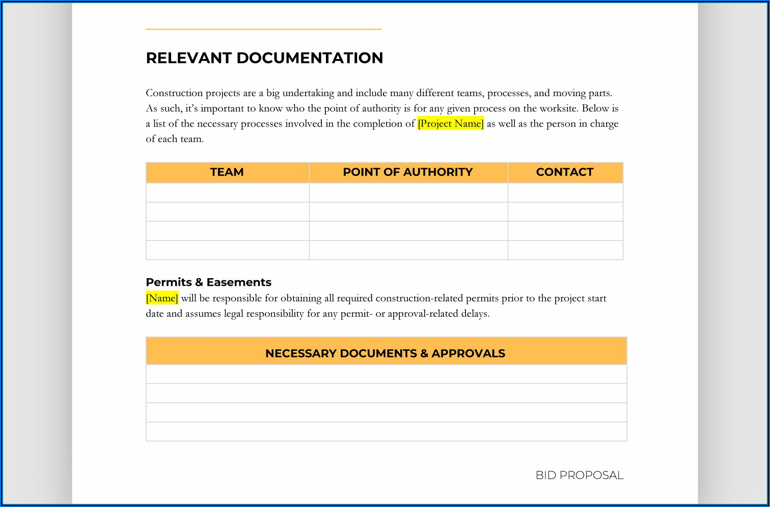 Free Fillable Construction Proposal Forms