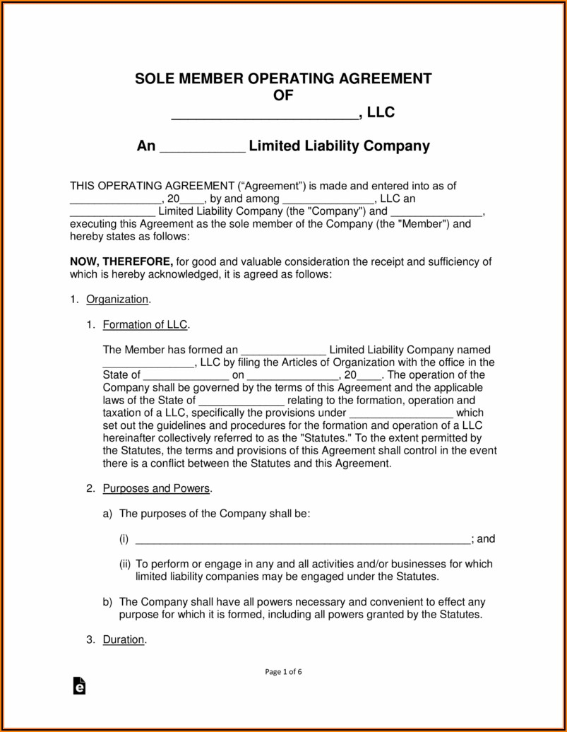 Free Llc Operating Agreement Template
