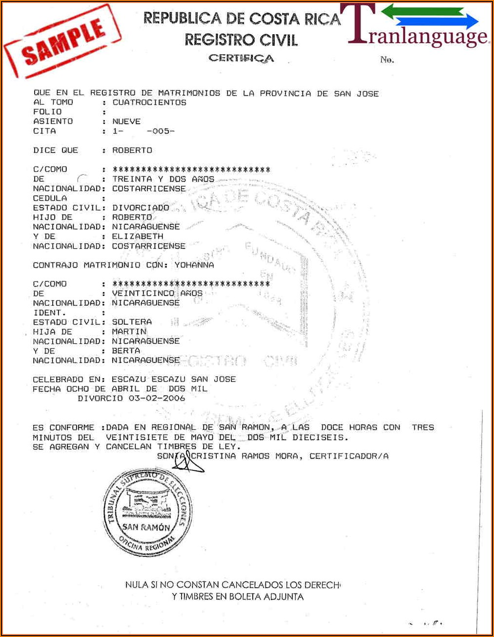 Free Marriage Certificate Translation Template From Spanish To English