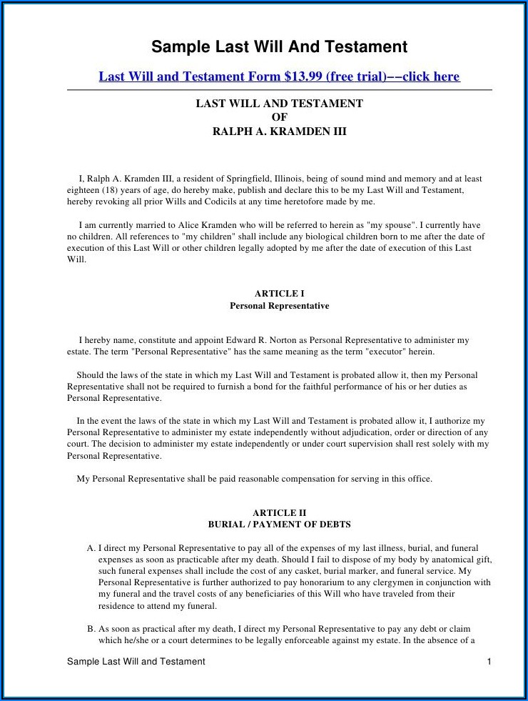 Free Mississippi Last Will And Testament Forms