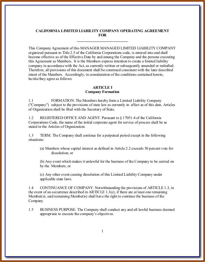 Free Missouri Llc Operating Agreement Template