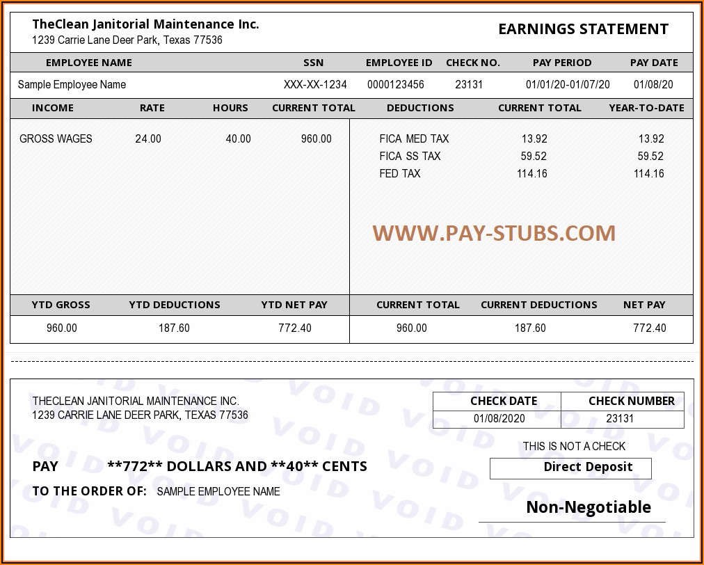 Free Paycheck Stub Template Online