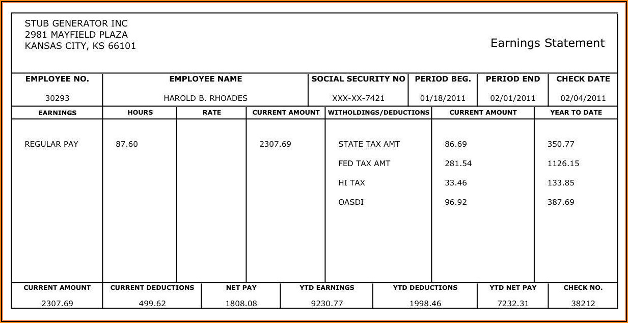Free Printable Check Paycheck Stub Sample